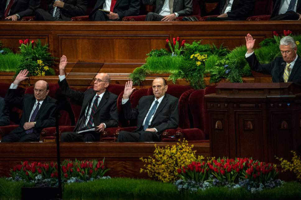Chris Detrick  |  The Salt Lake Tribune LDS Church President Thomas S. Monson affirms a vote during the afternoon session of the 185th Annual LDS General Conference on Saturday, April 4, 2015.