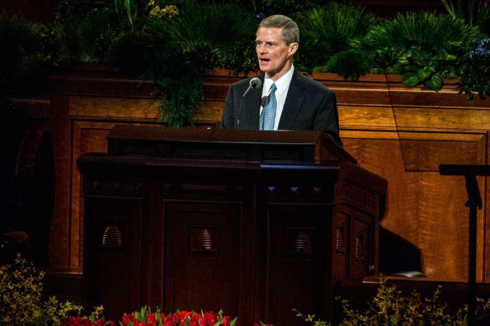 Chris Detrick  |  The Salt Lake Tribune Elder David A. Bednar, Quorum of the Twelve Apostles, speaks during the afternoon session of the 185th Annual LDS General Conference on Saturday, April 4, 2015. Bednar and Dieter F. Uchtdorf were ordained apostles on the same day, Oct. 7, 2004.