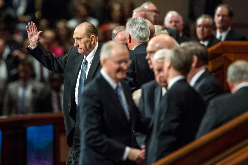 Chris Detrick  |  The Salt Lake Tribune LDS Church President Thomas S. Monson leaves after the afternoon session of the 185th Annual LDS General Conference Saturday April 4, 2015.