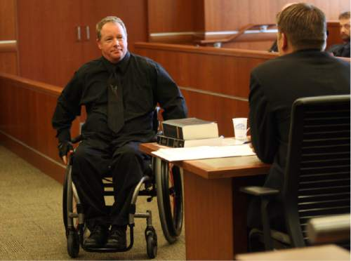 (Tribune file pool photo) David Serbeck returns to his seat after taking the witness stand at the trial for Reginald George Campos, who is accused of firing two shots at Serbeck, damaging his spine and leaving him paralyzed from the chest down, at the 3rd District Courthouse in West Jordan on Monday, July 26, 2010.