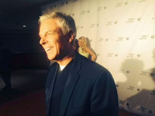 Thomas Burr | The Salt Lake Tribune Former Utah Gov. Jon Huntsman talks on the red carpet at the Tribeca Film Festival in New York ahead of the premiere of All Eyes And Ears. His daughter, Mary Anne, poses in the background.