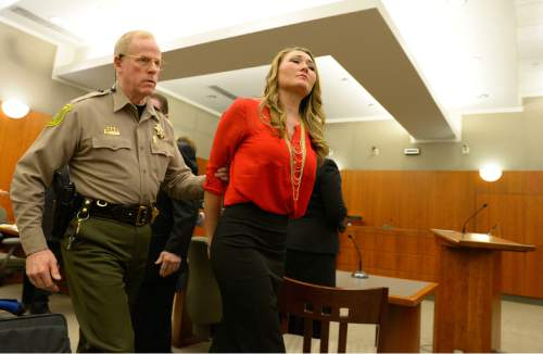 Leah Hogsten  |  The Salt Lake Tribune Brianne Altice, 35, was taken into custody and ordered to stand trial in 2nd District Court after Judge John R. Morris refused to set bail, Thursday, January 15, 2015. Altice,  is facing a total of 14 felony charges for allegedly having sexual relationships with three male students: five counts of first-degree felony rape, two counts of first-degree felony forcible sodomy, three counts of second-degree felony forcible sexual abuse, along with three counts of unlawful sexual activity with a minor and one count of dealing harmful material to a minor, all third-degree felonies.