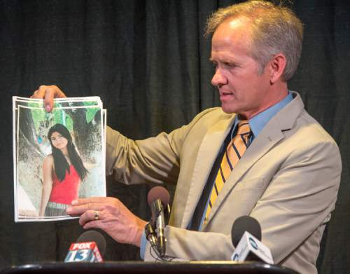 Rick Egan  |  The Salt Lake Tribune  Ed Smart speaks at a press conference along for help in the search for missing Provo woman, 26-year-old, Elizabeth Elena Laguna-Salgado, who was last seen April 16. Friday, April 24, 2015. Salgado is Elena's uncle.