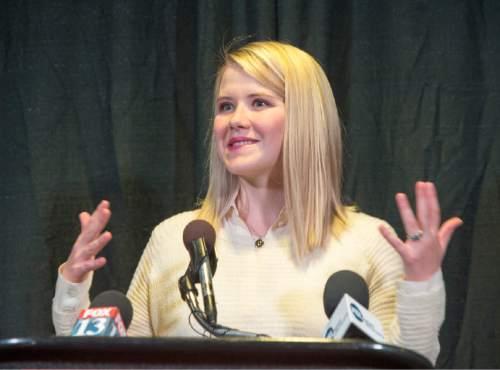 Rick Egan  |  The Salt Lake Tribune  Elizabeth Smart speaks at a press conference for missing Provo woman, 26-year-old, Elizabeth Elena Laguna-Salgado, who was last seen April 16. Friday, April 24, 2015.