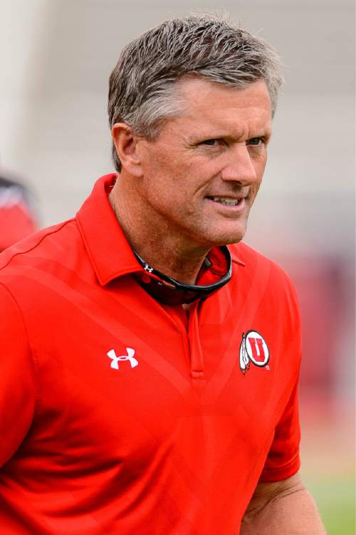 Trent Nelson  |  The Salt Lake Tribune Coach Kyle Whittingham at the Utah Football Red & White game in Salt Lake City, Saturday April 25, 2015.