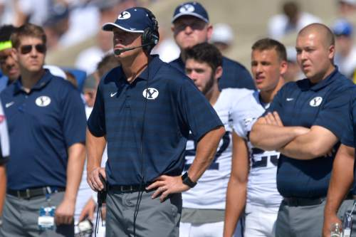 Chris Detrick  |  The Salt Lake Tribune Brigham Young Cougars head coach Bronco Mendenhall during the game at LaVell Edwards Stadium Saturday September 20, 2014.  Virginia is winning the game 16-13 at halftime.