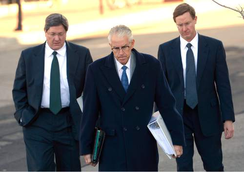 Leah Hogsten  |  The Salt Lake Tribune l-r Lyle Jeffs, believed to be the FLDS bishop in Hildale, Utah, and Colorado City, Arizona, FLDS attorney Jim Bradshaw and Nephi Jeffs appeared in U. S. District Court in Salt Lake City, Wednesday, January 21, 2015.
