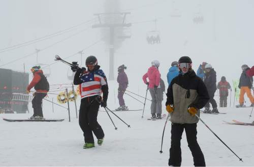 Scott Sommerdorf   |  The Salt Lake Tribune For only the second time in the last 50 years, Alta Ski Area has not reached a 100-inch base. Skiers enjoy the foggy day at the resort, Sunday, April 25, 2015.