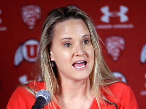 New Utah women's basketball coach Lynne Roberts speaks with the media for the first time since being hired last week during a news conference Wednesday, April 29, 2015, in Salt Lake City. (AP Photo/Rick Bowmer)