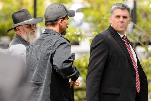 Trent Nelson  |  The Salt Lake Tribune Phil Lyman, right, leaves court after closing arguments as the Recapture Canyon case goes to the jury in Salt Lake City, Friday May 1, 2015.