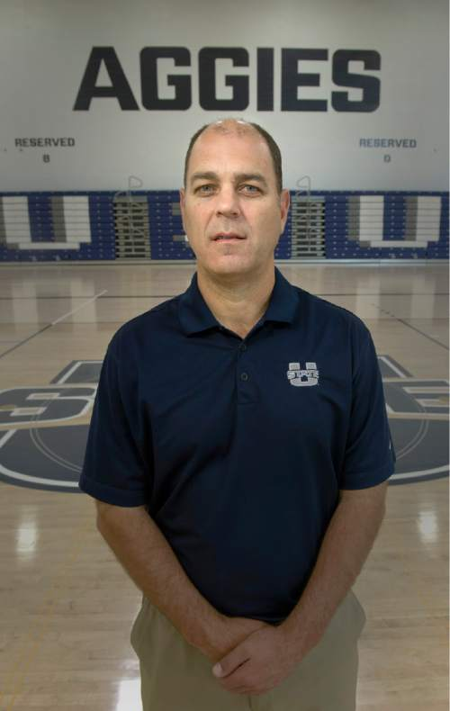 Rick Egan  |  The Salt Lake Tribune  Utah State's basketball coach, Tim Duryea, in the Wayne Estes Basketball Center in Logan, Thursday, April 30, 2015.