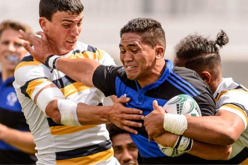 Trent Nelson  |  The Salt Lake Tribune BYU's Ara Elkington (7) runs as BYU faces Cal in the Penn Mutual Varsity Cup National Rugby Championship at Rio Tinto Stadium in Sandy, Saturday May 2, 2015.