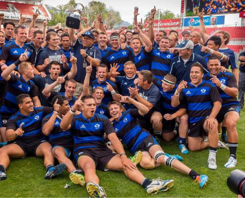 Trent Nelson  |  The Salt Lake Tribune BYU players celebrate their national championship after defeating Cal in the Penn Mutual Varsity Cup National Rugby Championship at Rio Tinto Stadium in Sandy, Saturday May 2, 2015.