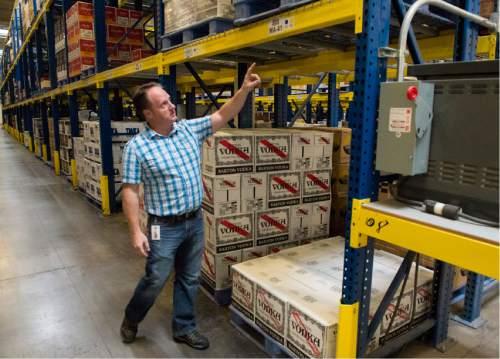 Rick Egan  |  The Salt Lake Tribune  Cade Meier, warehouse general manager, talks about the DABC's new ordering system at the picking warehouse at the DABC liquor warehouse, Thursday, April 30, 2015.