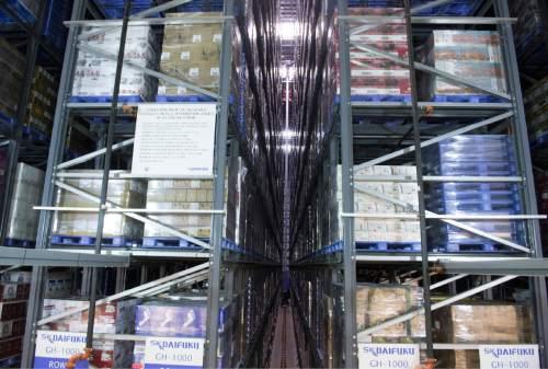 Rick Egan  |  The Salt Lake Tribune  The Automated Storage Retrieval System at the DABC liquor warehouse, Thursday, April 30, 2015.