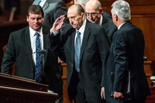 Chris Detrick  |  The Salt Lake Tribune LDS Church President Thomas S. Monson salutes the crowd during the 185th Annual LDS General Conference Saturday April 4, 2015.