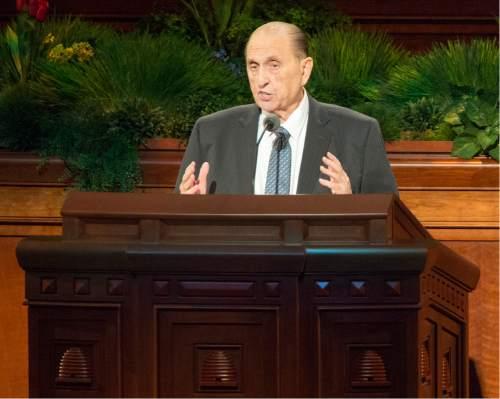 Rick Egan  |  The Salt Lake Tribune  President Thomas S. Monson speaks in the185th Annual LDS General Conference Priesthood Session, Saturday, April 4, 2015.