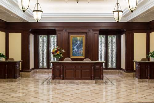 Recommend desk in the entry way of the Payson Utah Temple. © 2015 by Intellectual Reserve, Inc. All rights reserved.