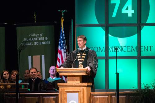 Chris Detrick  |  The Salt Lake Tribune President Matthew S. Holland speaks during Utah Valley University's Commencement Ceremonies at the UCCU Events Center Thursday April 30, 2015. A group of UVU professors is criticizing Holland for signing an amicus brief arguing against gay marriage before the U.S Supreme Court.