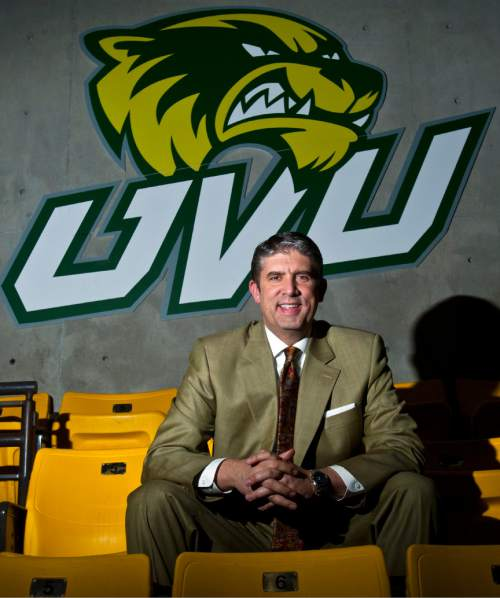 Chris Detrick  |  The Salt Lake Tribune President Matthew S. Holland poses for a portrait inside of  the UCCU Center at Utah Valley University Friday May 24, 2013.