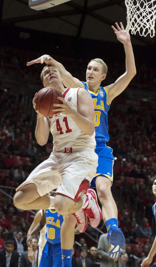 Steve Griffin  |  The Salt Lake Tribune   Utah Utes forward Jeremy Olsen (41) gets smacked on the head and fouled by UCLA Bruins center Thomas Welsh (40) during first half action in the Utah versus UCLA men's basketball game at the Huntsman Center in Salt Lake City, Sunday, Jan. 4, 2015.