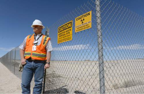 Al Hartmann  |  The Salt Lake Tribune  David Squires, general manager, Clive Operations for EnergySolutions, stands next to an area ready to accept large quantities of depleted uranium.   The Utah Department of Environmental Quality is finalizing its regulation for how this waste will be processed.
