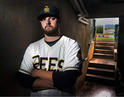 Steve Griffin  |  The Salt Lake Tribune  Salt Lake Bees' pitcher Cam Bedrosian at Smith's Ballpark prior to start of the Bees' game against Tacoma Wednesday, May 6, 2015. He is the son of a former major league pitcher and Cy Young winner Steve Bedrosian and is a highly-regarded prospect in the Angels' organization