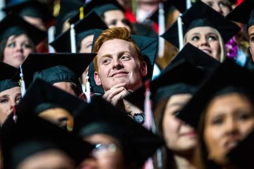 Chris Detrick     The Salt Lake Tribune Undergraduate students listen during the University of Utah Commencement Ceremony at the Jon M. Huntsman Center Thursday May 7, 2015.