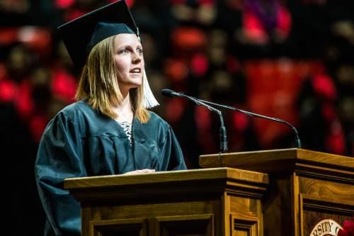 Chris Detrick     The Salt Lake Tribune May Bartlett speaks during the University of Utah Commencement Ceremony at the Jon M. Huntsman Center Thursday May 7, 2015.