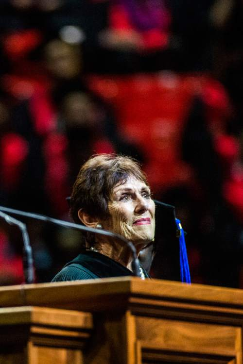 Chris Detrick  |  The Salt Lake Tribune Anne Cullimore Decker, an actress and University of Utah instructor, receives an honorary doctorate of fine arts, during the University of Utah Commencement Ceremony at the Jon M. Huntsman Center Thursday May 7, 2015.