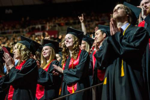 Chris Detrick  |  The Salt Lake Tribune Undergraduate students cheer during the University of Utah Commencement Ceremony at the Jon M. Huntsman Center Thursday May 7, 2015.