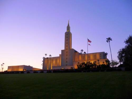 Photo Courtesy LDS Church  This file photo of the Los Angeles Temple of The Church of Jesus Christ of Latter-day Saints shows its green lawn before this year's water cutbacks.