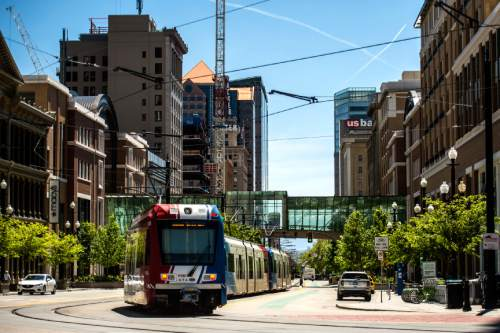 Chris Detrick  |  The Salt Lake Tribune A view of City Creek Center from Main Street and South Temple Wednesday April 29, 2015.