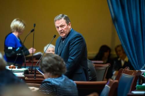 Chris Detrick  |  Tribune file photo Sen. Jerry W. Stevenson (R-Davis) speaks on SB72 during the morning session at the Utah State Capitol Wednesday February 4, 2015.