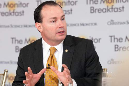Michael Bonfigli  |  The Christian Science Monitor  Sen. Mike Lee at the Monitor Breakfast on Friday April 10, 2015.