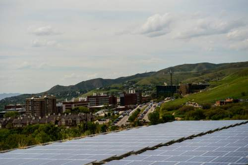Chris Detrick  |  The Salt Lake Tribune Solar panels at the Natural History Museum of Utah Tuesday May 12, 2015. The Natural History Museum of Utah has 1,378 solar panels installed on the roof, providing 457,500 kilowatt-hours of energy per year to the museum.