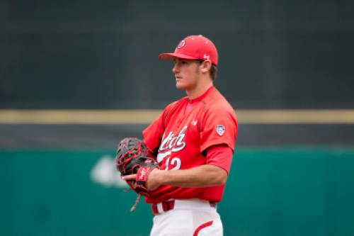 Courtesy     Utah Athletics  Biss Larsen plays first base in a series against Washington State earlier this year. The senior and Viewmont product has only started 10 games for the Utes this season, but has emerged as one of Utah's clutch hitters.