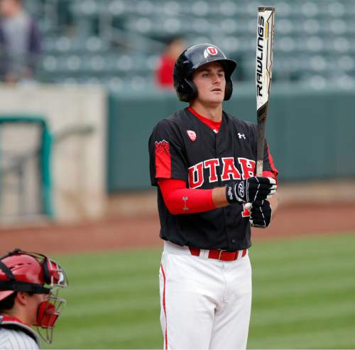 Courtesy     Utah Athletics  Biss Larsen takes an at-bat against Washington State. The senior and Centerville native has carved a role as a clutch hitter for the Utes this season.