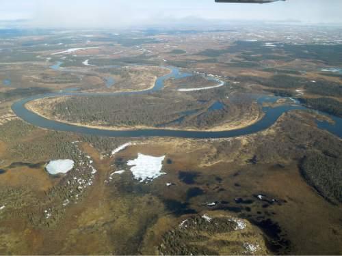 Thure Cerling  |  University of Utah  Aerial view of the Nuyakuk River, part of the Nushagak River watershed in southwestern Alaska.