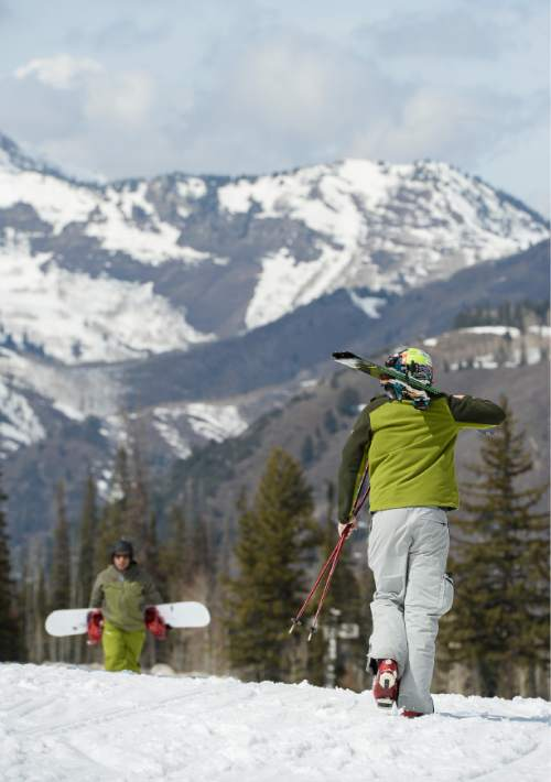 Francisco Kjolseth     The Salt Lake Tribune  The mountains around Solitude Mountain Resort show more bare spots than average as skiers and boarders enjoy spring skiing conditions on Wednesday, March 18, 2015.