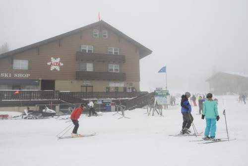 Scott Sommerdorf      The Salt Lake Tribune For only the second time in the last 50 years, Alta Ski Area has not reached a 100-inch base. Skiers enjoy the foggy day at the resort, Sunday, April 25, 2015.