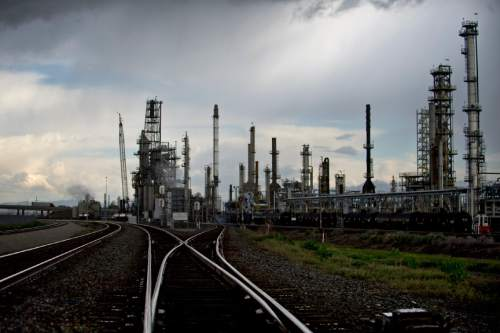 Lennie Mahler     The Salt Lake Tribune  The Big West Oil refinery in North Salt Lake, photographed Tuesday, May 19, 2015. Big West Oil LLC has agreed to proposed plan from the Utah Department of Environmental Quality to monitor groundwater around the site, where previous operator Husky Oil Corp. dumped sludges and other hazardous wastes between 1962 and 1982.
