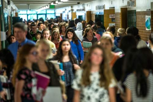 Chris Detrick  |  The Salt Lake Tribune Students walk the halls in between classes at Evergreen Junior High School Wednesday May 20, 2015.  Utah schools are expected to grow to 1 million students by the year 2050.