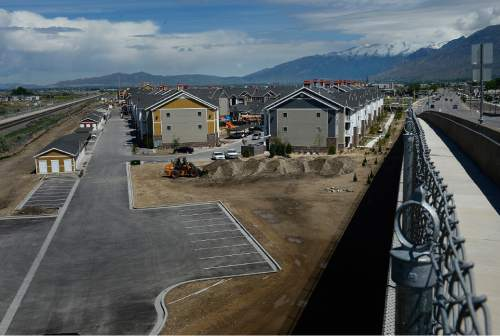 Scott Sommerdorf   |  The Salt Lake Tribune The Geneva development in the tiny town of Vineyard in Utah County, Wednesday, May 20, 2015. The town has gone from 143 to 691 residents since 2010, making it the state's fastest growing city.