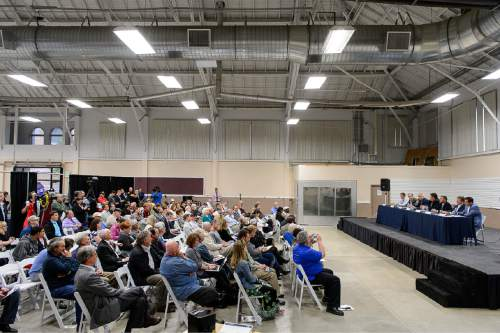Trent Nelson  |  The Salt Lake Tribune The Prison Relocation Commission fields questions from the public at a meeting with Salt Lake City residents about the proposed prison site at I-80 and 7200 West, Wednesday May 20, 2015.
