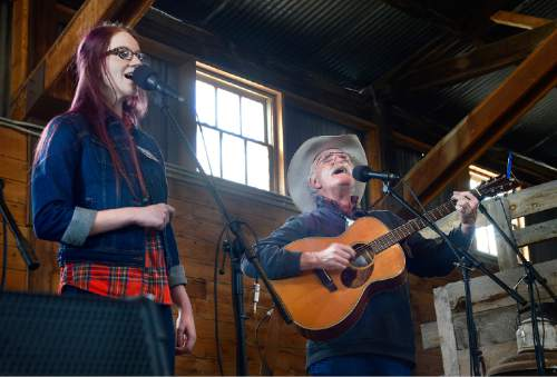 Scott Sommerdorf   |  The Salt Lake Tribune Jenny Lynn and David Anderson perform at the Cowboy legends Cowboy Poetry and Music Festival at the Fielding-Garr Ranch on Antelope Island on  Saturday.
