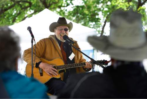 Scott Sommerdorf   |  The Salt Lake Tribune Wayne Nelson performs at the Cowboy Legends Cowboy Poetry and Music Festival at the Fielding-Garr Ranch on Antelope Island, Saturday, May 23, 2015.