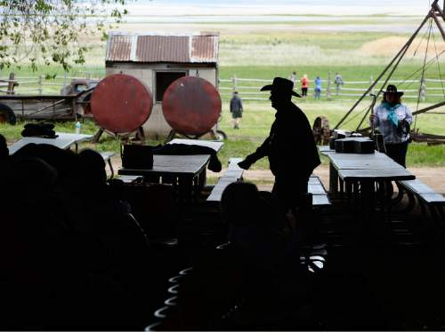 Scott Sommerdorf   |  The Salt Lake Tribune The Cowboy Legends Cowboy Poetry and Music Festival at the Fielding-Garr Ranch on Antelope Island, Saturday, May 23, 2015.
