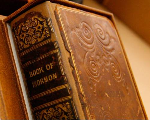Leah Hogsten  |  The Salt Lake Tribune Closeup of the 1841 Book of Mormon printed in Liverpool, England.