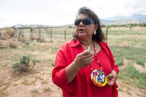 Rick Egan  |  The Salt Lake Tribune  Corrina Bow, chairwoman of the Paiute Indian Tribe of Utah, at the Parowan Gap,  Wednesday, May 6, 2015.